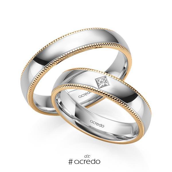 Paar bicolor Trauringe/Eheringe in Roségold 585 Graugold 585 mit zus. 0,05 ct. Prinzess-Diamant tw, si von acredo