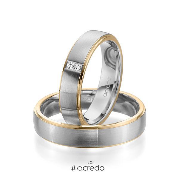 Paar bicolor Trauringe/Eheringe in Roségold 585 Graugold 585 mit zus. 0,06 ct. Prinzess-Diamant tw, si von acredo