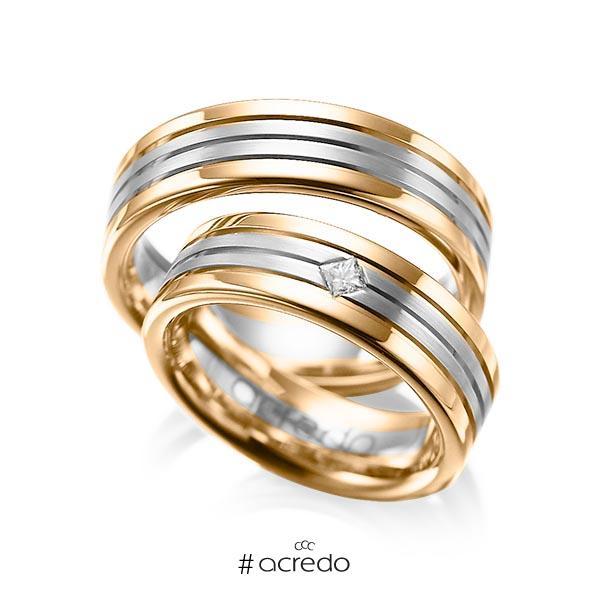 Paar bicolor Trauringe/Eheringe in Roségold 585 Graugold 585 mit zus. 0,08 ct. Prinzess-Diamant tw, si von acredo