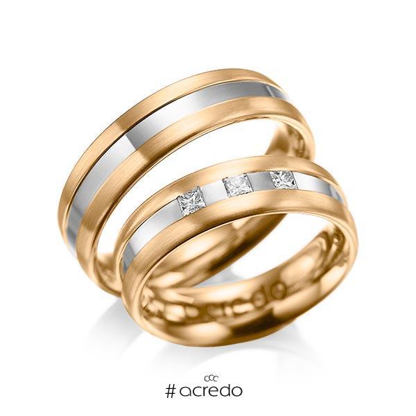Paar bicolor Trauringe/Eheringe in Roségold 585 Graugold 585 mit zus. 0,18 ct. Prinzess-Diamant tw, si von acredo