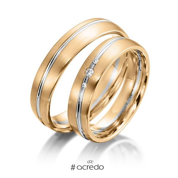 Paar bicolor Trauringe/Eheringe in Roségold 585 Weißgold 585 mit zus. 0,036 ct. Brillant tw, si von acredo