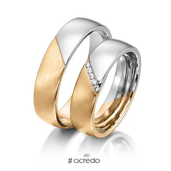 Paar bicolor Trauringe/Eheringe in Roségold 585 Weißgold 585 mit zus. 0,05 ct. Brillant tw, si von acredo