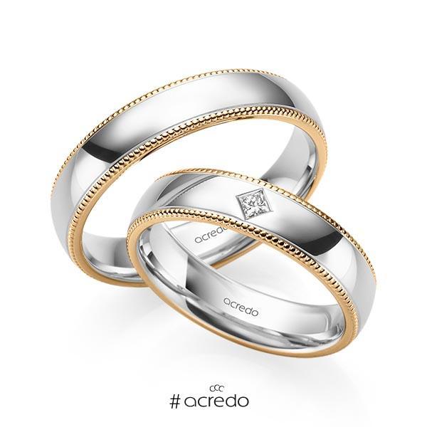 Paar bicolor Trauringe/Eheringe in Roségold 585 Weißgold 585 mit zus. 0,05 ct. Prinzess-Diamant tw, si von acredo