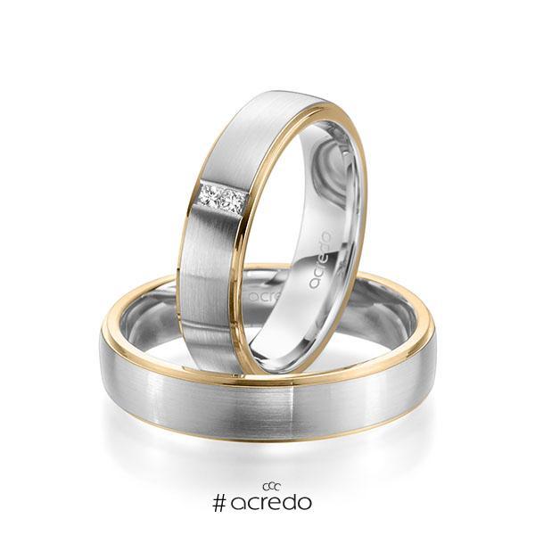 Paar bicolor Trauringe/Eheringe in Roségold 585 Weißgold 585 mit zus. 0,06 ct. Prinzess-Diamant tw, si von acredo