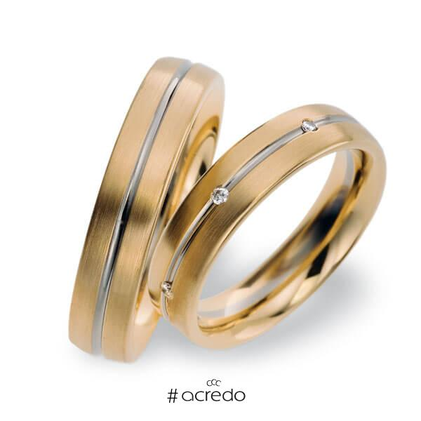 Paar bicolor Trauringe/Eheringe in Roségold 585 Weißgold 585 mit zus. 0,07 ct. Brillant tw, vs von acredo