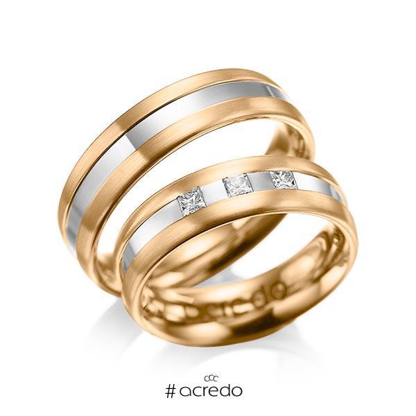 Paar bicolor Trauringe/Eheringe in Roségold 585 Weißgold 585 mit zus. 0,18 ct. Prinzess-Diamant tw, si von acredo