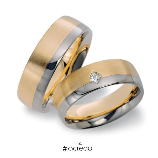 Paar bicolor Trauringe/Eheringe in Roségold 585 Weißgold 585 mit zus. 0,1 ct. Prinzess-Diamant tw, si von acredo