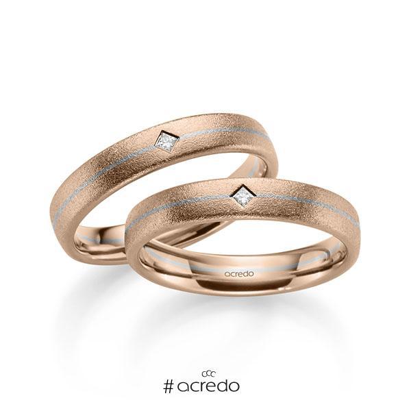 Paar bicolor Trauringe/Eheringe in Rotgold 585 Graugold 585 mit zus. 0,05 ct. Prinzess-Diamant tw, si von acredo