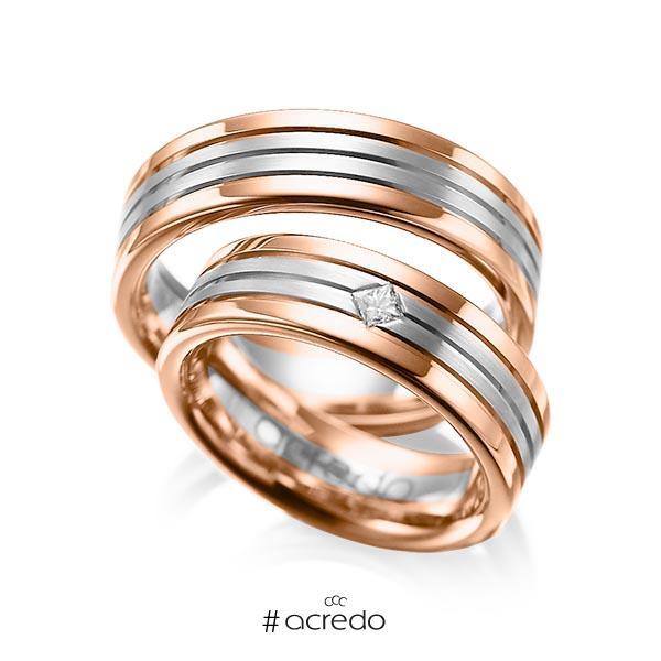 Paar bicolor Trauringe/Eheringe in Rotgold 585 Graugold 585 mit zus. 0,08 ct. Prinzess-Diamant tw, si von acredo
