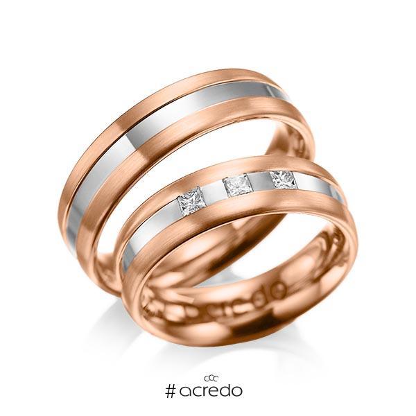 Paar bicolor Trauringe/Eheringe in Rotgold 585 Graugold 585 mit zus. 0,18 ct. Prinzess-Diamant tw, si von acredo