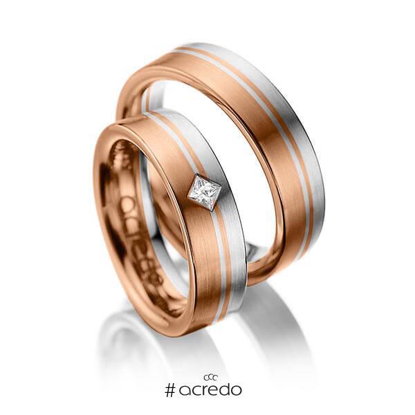 Paar bicolor Trauringe/Eheringe in Rotgold 585 Graugold 585 mit zus. 0,1 ct. Prinzess-Diamant tw, si von acredo