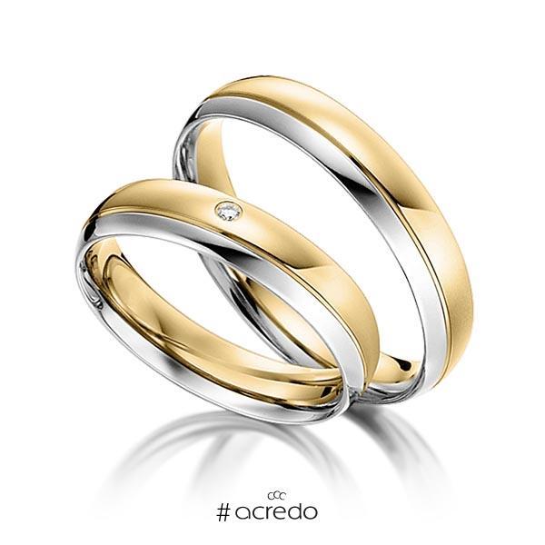 Paar bicolor Trauringe/Eheringe in Weißgold 585 Gelbgold 585 mit zus. 0,008 ct. Brillant tw, si von acredo