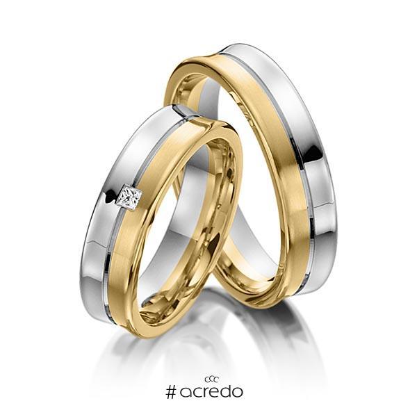 Paar bicolor Trauringe/Eheringe in Weißgold 585 Gelbgold 585 mit zus. 0,03 ct. Prinzess-Diamant tw, vs von acredo