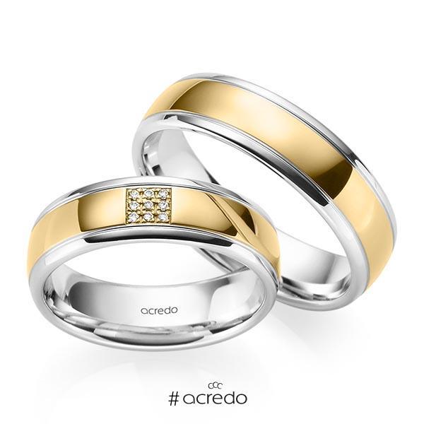 Paar bicolor Trauringe/Eheringe in Weißgold 585 Gelbgold 585 mit zus. 0,045 ct. Brillant tw, si von acredo