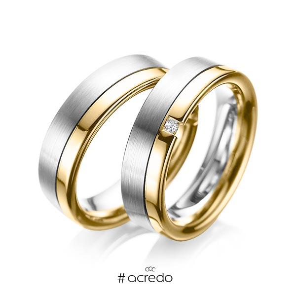 Paar bicolor Trauringe/Eheringe in Weißgold 585 Gelbgold 585 mit zus. 0,04 ct. Prinzess-Diamant tw, si von acredo