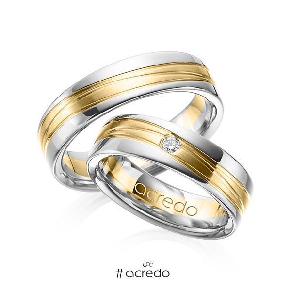 Paar bicolor Trauringe/Eheringe in Weißgold 585 Gelbgold 585 mit zus. 0,05 ct. Brillant tw, si von acredo