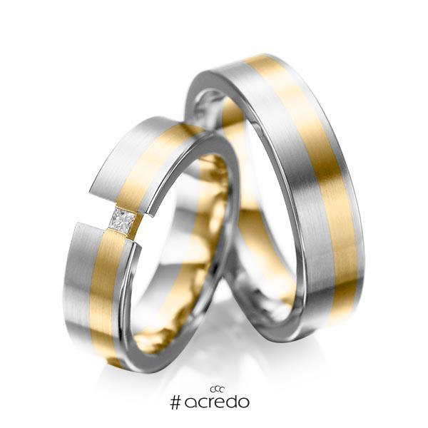 Paar bicolor Trauringe/Eheringe in Weißgold 585 Gelbgold 585 mit zus. 0,05 ct. Prinzess-Diamant tw, si von acredo