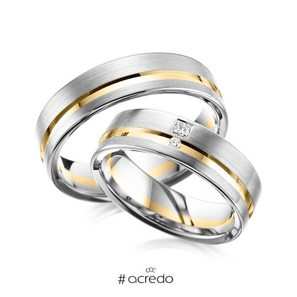 Paar bicolor Trauringe/Eheringe in Weißgold 585 Gelbgold 585 mit zus. 0,065 ct. Brillant & Prinzess-Diamant tw, vs tw, si von acredo