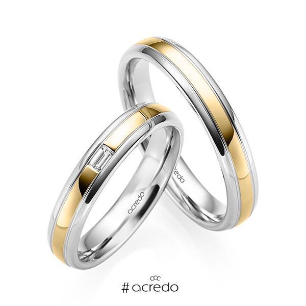Paar bicolor Trauringe/Eheringe in Weißgold 585 Gelbgold 585 mit zus. 0,06 ct. Baguette-Diamant tw, vs von acredo