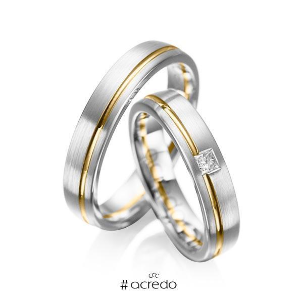 Paar bicolor Trauringe/Eheringe in Weißgold 585 Gelbgold 585 mit zus. 0,08 ct. Prinzess-Diamant tw, si von acredo