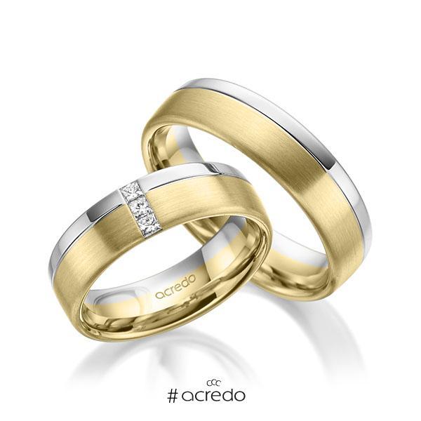 Paar bicolor Trauringe/Eheringe in Weißgold 585 Gelbgold 585 mit zus. 0,12 ct. Prinzess-Diamant tw, si von acredo