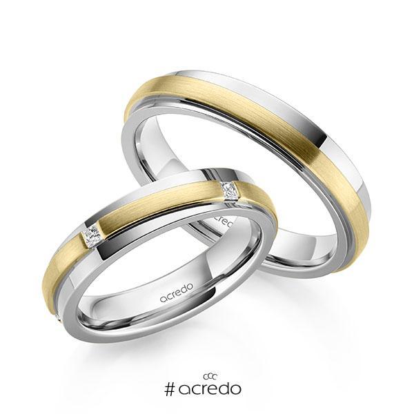Paar bicolor Trauringe/Eheringe in Weißgold 585 Gelbgold 585 mit zus. 0,15 ct. Prinzess-Diamant tw, si von acredo