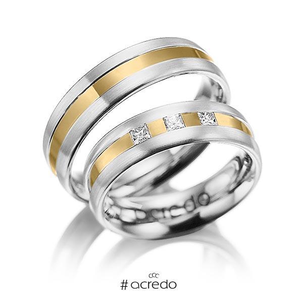 Paar bicolor Trauringe/Eheringe in Weißgold 585 Gelbgold 585 mit zus. 0,18 ct. Prinzess-Diamant tw, si von acredo
