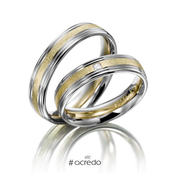 Paar bicolor Trauringe/Eheringe in Weißgold 585 Grüngold 585 mit zus. 0,03 ct. Prinzess-Diamant tw, si von acredo
