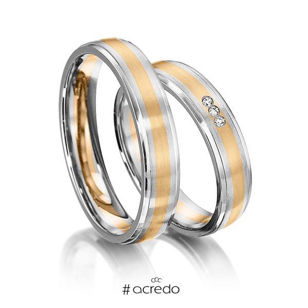 Paar bicolor Trauringe/Eheringe in Weißgold 585 Roségold 585 mit zus. 0,024 ct. Brillant tw, si von acredo
