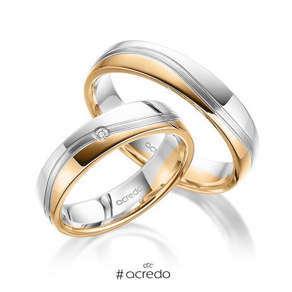 Paar bicolor Trauringe/Eheringe in Weißgold 585 Roségold 585 mit zus. 0,02 ct. Brillant tw, si von acredo