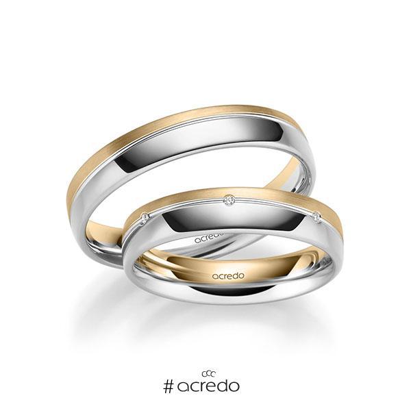 Paar bicolor Trauringe/Eheringe in Weißgold 585 Roségold 585 mit zus. 0,035 ct. Brillant tw, si von acredo