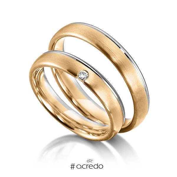 Paar bicolor Trauringe/Eheringe in Weißgold 585 Roségold 585 mit zus. 0,03 ct. Brillant tw, si von acredo