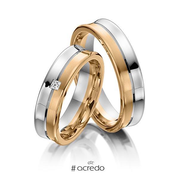 Paar bicolor Trauringe/Eheringe in Weißgold 585 Roségold 585 mit zus. 0,03 ct. Prinzess-Diamant tw, vs von acredo