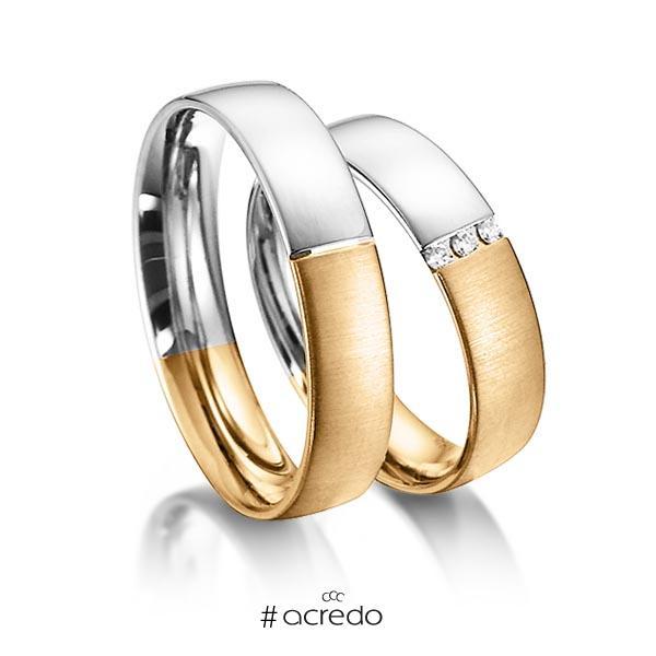 Paar bicolor Trauringe/Eheringe in Weißgold 585 Roségold 585 mit zus. 0,045 ct. Brillant tw, si von acredo