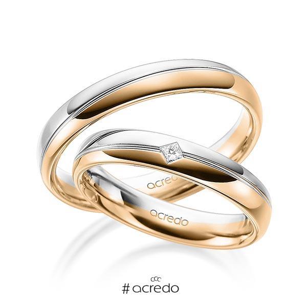 Paar bicolor Trauringe/Eheringe in Weißgold 585 Roségold 585 mit zus. 0,04 ct. Prinzess-Diamant tw, si von acredo