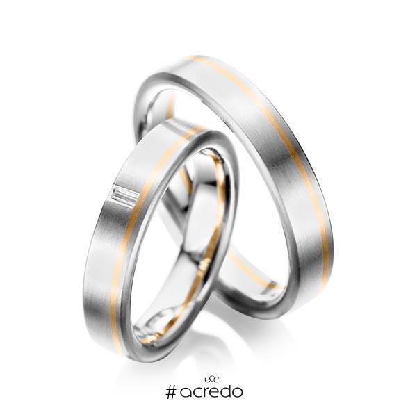 Paar bicolor Trauringe/Eheringe in Weißgold 585 Roségold 585 mit zus. 0,05 ct. Baguette-Diamant tw, vs von acredo