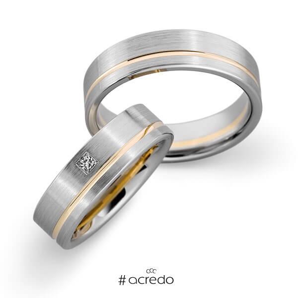 Paar bicolor Trauringe/Eheringe in Weißgold 585 Roségold 585 mit zus. 0,05 ct. Prinzess-Diamant tw, vs von acredo