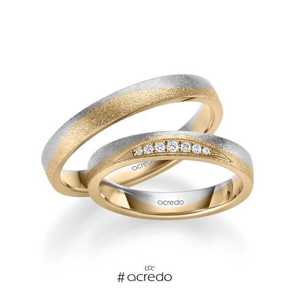 Paar bicolor Trauringe/Eheringe in Weißgold 585 Roségold 585 mit zus. 0,061 ct. Brillant tw, si von acredo