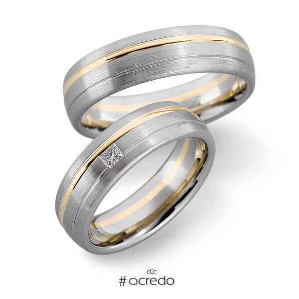 Paar bicolor Trauringe/Eheringe in Weißgold 585 Roségold 585 mit zus. 0,06 ct. Prinzess-Diamant tw, vs von acredo