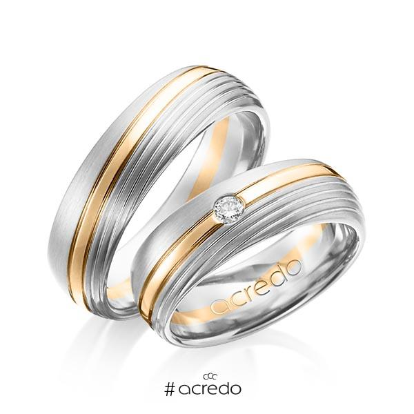Paar bicolor Trauringe/Eheringe in Weißgold 585 Roségold 585 mit zus. 0,07 ct. Brillant tw, si von acredo