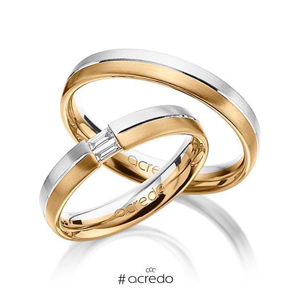 Paar bicolor Trauringe/Eheringe in Weißgold 585 Roségold 585 mit zus. 0,1 ct. Baguette-Diamant tw, vs von acredo