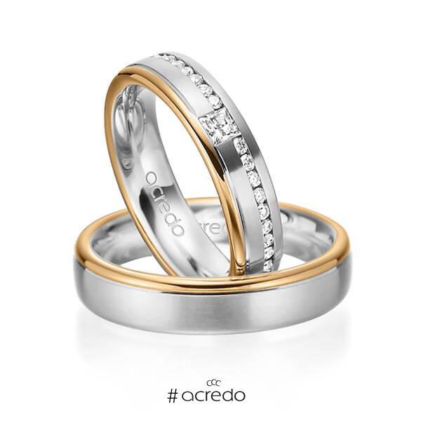 Paar bicolor Trauringe/Eheringe in Weißgold 585 Roségold 585 mit zus. 0,32 ct. Brillant & Prinzess-Diamant tw, si von acredo