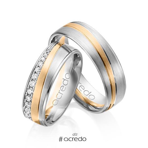 Paar bicolor Trauringe/Eheringe in Weißgold 585 Roségold 585 mit zus. 0,406 ct. Brillant tw, si von acredo