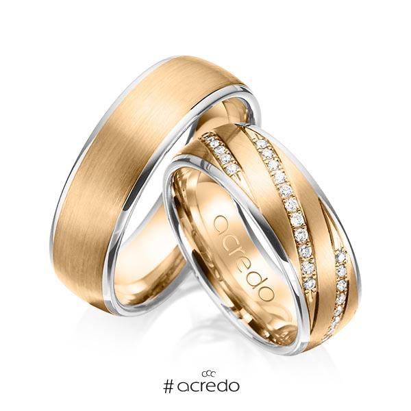 Paar bicolor Trauringe/Eheringe in Weißgold 585 Roségold 585 mit zus. 0,44 ct. Brillant tw, si von acredo