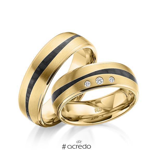 Paar Carbon Trauringe/Eheringe in Gelbgold 585 Gelbgold 585 mit Carbon-Einzug mit zus. 0,06 ct. Brillant tw, si von acredo