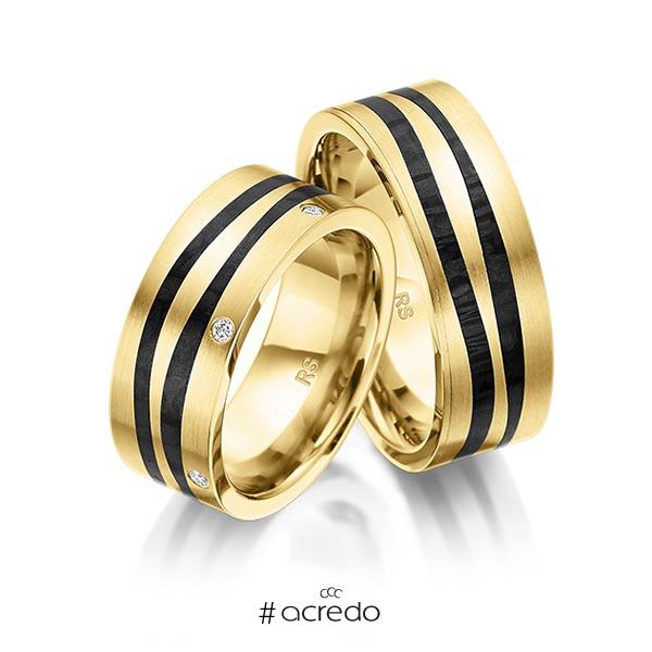 Paar Carbon Trauringe/Eheringe in Gelbgold 585 Gelbgold 585 mit Carbon-Einzug mit zus. 0,09 ct. Brillant tw, si von acredo