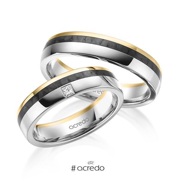 Paar Carbon Trauringe/Eheringe in Gelbgold 585 Graugold 585 mit zus. 0,05 ct. Prinzess-Diamant tw, si von acredo