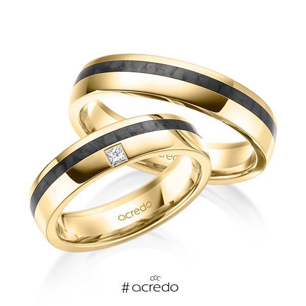 Paar Carbon Trauringe/Eheringe in Gelbgold 585 mit zus. 0,05 ct. Prinzess-Diamant tw, si von acredo
