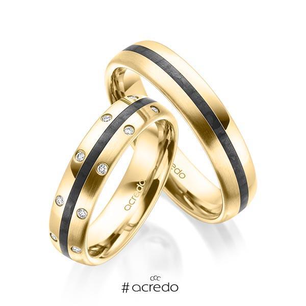Paar Carbon Trauringe/Eheringe in Gelbgold 585 mit zus. 0,096 ct. Brillant tw, si von acredo