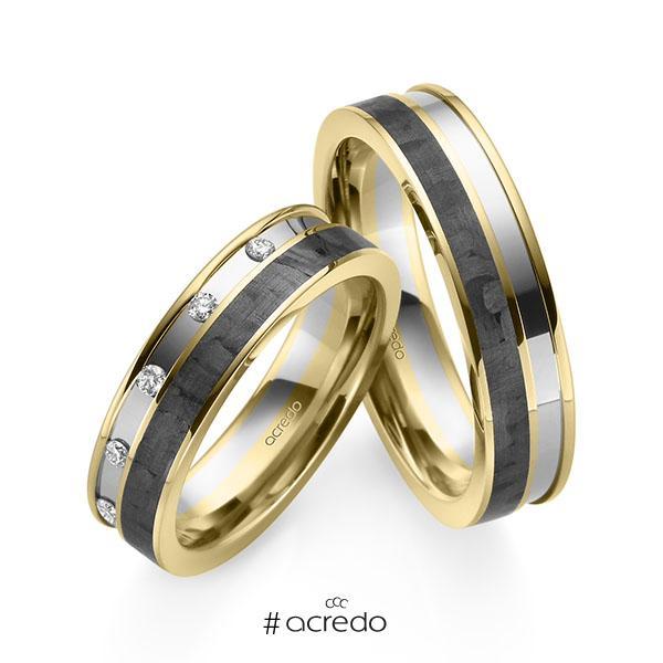 Paar Carbon Trauringe/Eheringe in Gelbgold 585 Weißgold 585 Gelbgold 585 mit Carbon-Einzug mit zus. 0,1 ct. Brillant tw, si von acredo